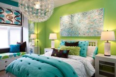 Girls Bedroom With Green Painted Wall And Blue Blanket Plus Unique Pendant Lamp As Well As Teen Girls Room And Green Bedroom Paint, Lovely Chic Green And Blue Girls Bedroom For Paint Color Interior Design: Bedroom, Interior Ideas