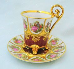 JWK Western Germany Fragonard signed DEMI cup and saucer love story courting couple