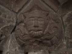 Green Man | Romanesque sandstone carving, archway in church at Garway, Herefordshire, c.13th century