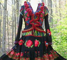 Patchwork Sweater/Dress with butterflies appliqué and crocheted collar and cuffs. Size S. Ready to ship., $580.00