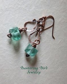 Sea Green Recycled Glass Dangle Earrings by Bantering Bird #Jewelry