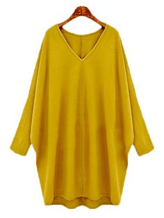 Women Casual Knit Loose Bat Sleeve V-neck Dress