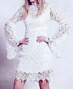 Bohemian-White-Floral-Lace-Bell-Sleeve-Cocktail-Evening-Club-Vintage-Shirt-Dress