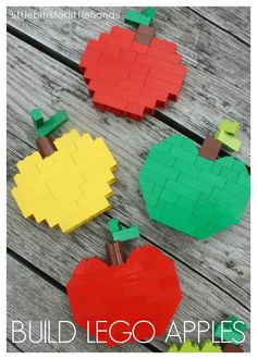 Build LEGO Apples for Kids Fall Activity. Fun Fall themed LEGO STEM challenge for kids of all ages. Math and engineering skills for young kids including symmetry, basic counting, and problem solving. Use basic bricks to build LEGO apples Apple Activities, Autumn Activities For Kids, Fall Crafts For Kids, Kids Crafts, Bloc Lego, The Rainbow Fish, Herbst Bucket List, Lego Challenge, Lego Club