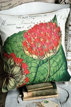 for sunroom? ~ Pillow Cover Red Botanical Cotton and Burlap by JolieMarche, $35.00