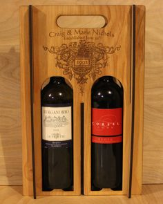 Personalised Wooden Wine Box by TheCrummyBoysShop on Etsy, $35.00