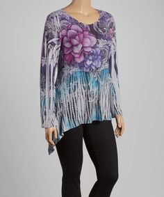 Look what I found on #zulily! Gray & Purple Floral Sidetail Top - Plus by Poliana Plus #zulilyfinds