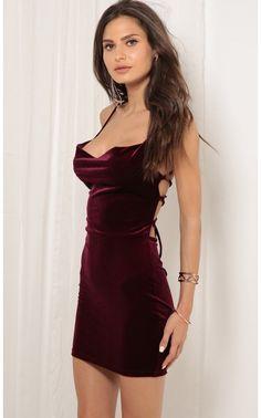 Party dresses > Cowl Neck Velvet Dress in Wine