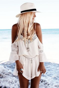 White Boho Off the Shoulder Romper | www.ustrendy.com   #USTrendy