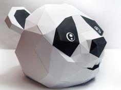 Panda Head Mask Papercraft Free Template Download - http://www.papercraftsquare.com/panda-head-mask-papercraft-free-template-download.html#Head, #Mask, #Panda