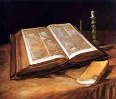 I want this in the library of my future home.  Love it..... Still Life with Open Bible by Vincent van Gogh.