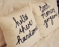 His and Hers Pillow Covers Valentines 18 x 18 inch - Hello There Handsome, Good Morning Gorgeous