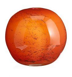 Benny Motzfeldt Vase PLUS - Norway , Orange glass with embedded metal formations. Fredrikstad, Scandinavian Art, Colored Glass, Norway, Vases, Glass Art, Perfume Bottles, Orange, Metal