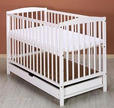 4baby White Clara Baby Cot Bed Rollaway Drawer Fibre Cotbed Safety Mattress Bedding Cotattress