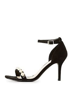 087f958a169 Qupid Pearl Embellished Two-Piece Sandals Sexy High Heels