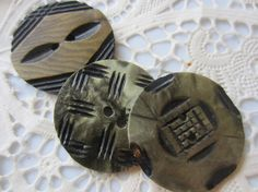 Vintage Button  3 Collector wafer style carved by pillowtalkswf, $5.95