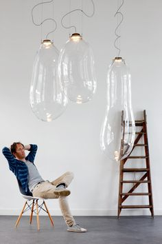 Glazen bellen blaas hanglamp Zag ze op de woonbeurs echt prachtig!