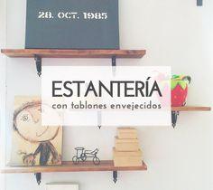 Crea una decorativa estantería de pared con tablones envejecidos