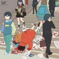 Anime Toon, Sad Anime, Anime Art, Dark Art Illustrations, Illustration Art, Dire Pardon, Sun Projects, Vent Art, Arte Obscura