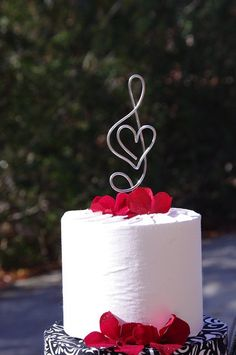 TREBLE CLEF Music Note with HEART Cake Topper by crosswiredesign, $18.00