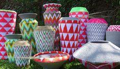 Les paniers fluoro de Gone Rural, vannerie du Swaziland, magnifique!!