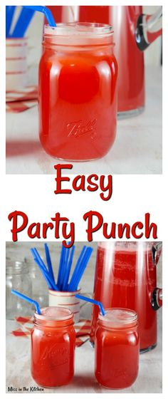 Easy Party Punch Recipe is perfect for birthday parties and family holidays. Simple 3 ingredient recipe! MissintheKitchen.com #partypunch #punch