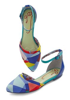 Arty Party Flat by Poetic License - Flat, Faux Leather, Woven, Blue, Multi, Print, Work, Best
