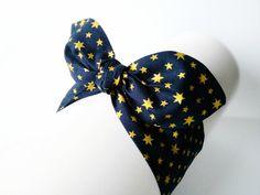 Opaska bawełniana pin-up granatowa złote gwiazdki - MadebyKaza - Opaski dla niemowląt