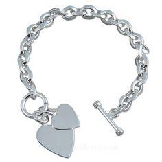 Heavy Silver Double Heart Tag Charm Bracelet