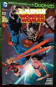 "Superman/Wonder Woman (2013-) #9 ""Superman: Doomed!"" part 7, continued from Action Comics (2011-) #32. As things get more dire on Earth for him, the Man of Steel may have to go into exile in space, but the self-proclaimed protectors of Sector 2814, and the Red Lanterns, don't want him there either. Continued in Action Comics (2011-) #33."