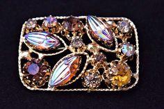 Austria Aurora Borealis Rhinestone Statement Brooch Retro Costume Estate Jewelry