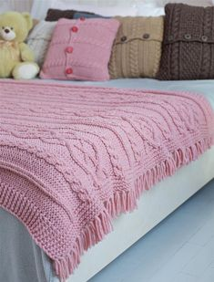 Pink Cable Knit blanket, Hand knitted throw blanket, Chunky knit throw – How To Knitting Blanket Finger Knitting Blankets, Cable Knit Blankets, Chunky Knit Throw, Chunky Blanket, Knitted Baby Blankets, Knitted Blankets, Baby Blanket Crochet, Baby Knitting, Pink Blanket