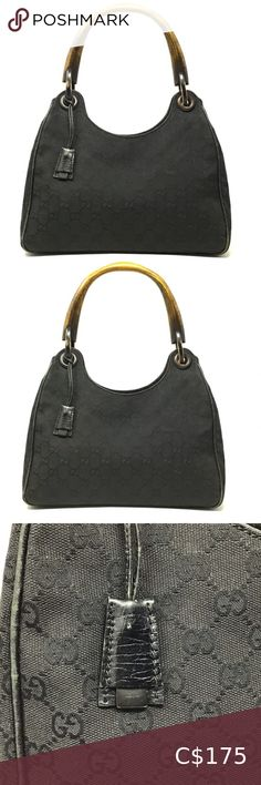 """GUCCI Wood Handle Black GG Canvas Bag Black GG canvas Gucci handle bag with single wooden rolled top handle, black leather trim, black woven lining, single zip pocket at interior wall and open at top. Handle Drop: 8.25"""" Height: 9.5"""" Width: 13.5"""" Depth: 4.75"""" Bought at Bergdorff and Goodman in New York some years back. Comes with original dust bag. Good condition with some damage in the hook, and piping as pictured. Priced accordingly. Gucci Bags Gucci Pochette, Gucci Crossbody Bag, Gucci Clutch, Gucci Mini Bag, Gucci Soho Bag, Gucci Handbags, Gucci Bags, Vintage Gucci Purse, Gucci Monogram"""