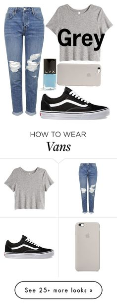"""""""••Grey••"""" by woopwoo on Polyvore featuring Topshop, H&M, Vans and LVX"""