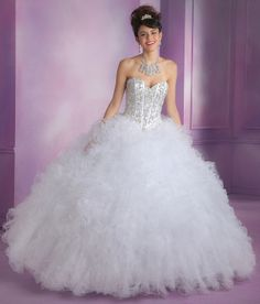 Cheap masquerade ball gowns, Buy Quality white quinceanera directly from China white quinceanera dress Suppliers: Sweet 16 Dresses Hot sale Crystal White Quinceanera Dresses Vestido De 15 Anos De Debutante Bling White Masquerade Ball Gowns White Quince Dresses, White Wedding Dresses, White Gowns, Mori Lee Quinceanera Dresses, Quinceanera Ideas, Sweet 16, Blue White Weddings, Bridal And Formal, Cocktail Dressing