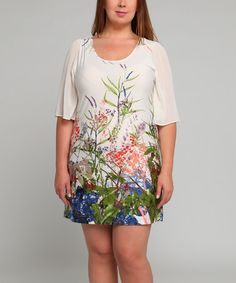 Love this Ivory Floral Shift Dress - Plus by Tua Plus on #zulily! #zulilyfinds