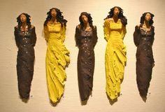 Ingun Dahlin, Norway Sculpture Techniques, Sculpture Ideas, Pottery Angels, Clay People, Ceramic Wall Art, Clay Figures, Paperclay, Ceramic Sculptures, Clay Art