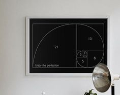 Fibonacci spiral Math Art Poster, Mathematics golden section Fibonacci numbers, black poster, horizonal print 100x70, 70x50, A4, 36x24""