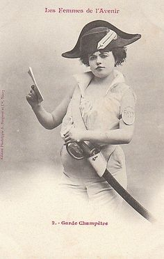 French postcard, 1902: Women of the Future: The Rural Guard