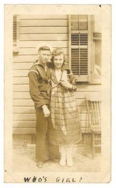 """""""Who's Girl?"""", photograph of Warren Carson McNeill with Vii [Via?]  State Archives of NC, Military Collection, World War I Papers, Private Collections. Box 42, Warren C. McNeill Papers. Online in the NC Digital Collections. ^mcu"""