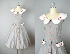 Vintage 40s 50s Dress // 1940s 1950s Black & White Gingham Dress by OffBroadwayVintage