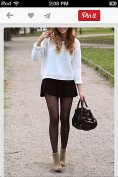 Yay! Wore this outfit today!! The knit, skirt, stockings and booties just rocks!!!