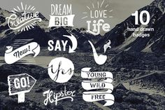Hipster set of hand drawn badges by SoNice on Creative Market