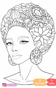 Adult coloring book 8 gray scale portraits coloring pages pdf printable anti-stress relaxing zentangle line art : Adult coloring book 8 Portraits coloring pages pdf printable anti-stress relaxing zentangle line art African Drawings, African Art Paintings, Coloring Pages To Print, Adult Coloring Pages, Coloring Books, Colouring Sheets, Drawing Sketches, Art Drawings, Afrique Art