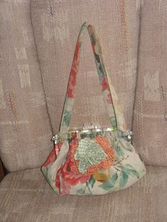 The New Della Bag in Dusty Grey Blue Vintage Fabric by fancibags, $100.00