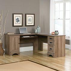 "Sauder Harbor View Corner Computer Desk, 30 1/4""H x 66 1/8""W x 66 1/8""D, Salt Oak"