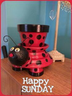Clay Pot Projects, Clay Pot Crafts, Diy Garden Projects, Diy Clay, Garden Crafts, Diy Garden Decor, Garden Art, Garden Design, Garden Ideas