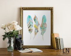 Instant Feathers Printable 8x10 Bohemian by mylovenotedesigns