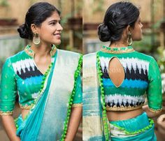 blouse designs Looking for new blouse back neck designs to your silk (aka pattu) sarees? Check out our latest 13 blouse models to find out what is trending this season. Blouse Back Neck Designs, Kurti Neck Designs, Golden Blouse Designs, Fancy Blouse Designs, Sari Design, Designer Kurtis, Designer Wear, Blouse Col Haut, Saree Jacket Designs