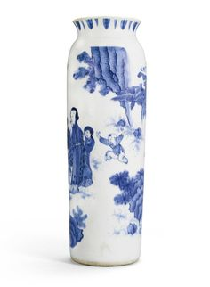 A blue and white sleeve vase, Ming dynasty, Chongzhen period